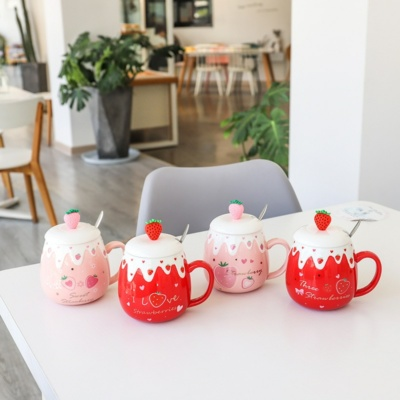 Kawaii Strawberry 3D Ceramic Mug With Lid