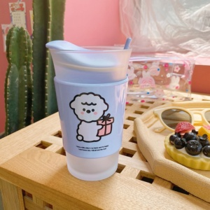 Cute Frosted Alpaca Cup With Straw