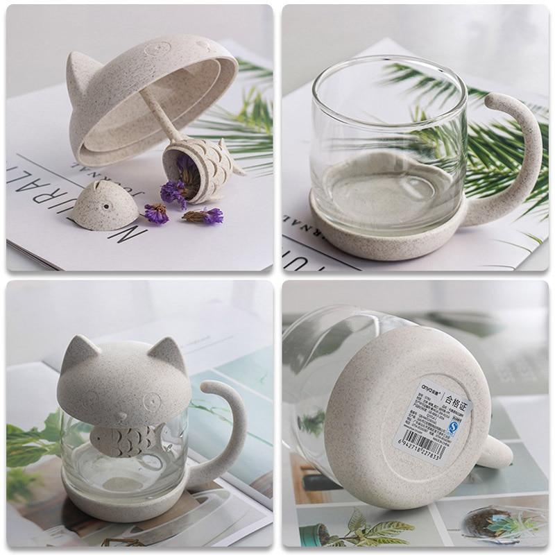 Kawaii Cat Fish Glass Tea Mug (250ml)