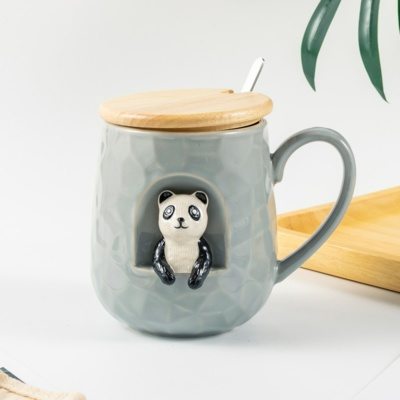 Kawaii Animal Panda Dog Cat Ceramic Mug with Lid