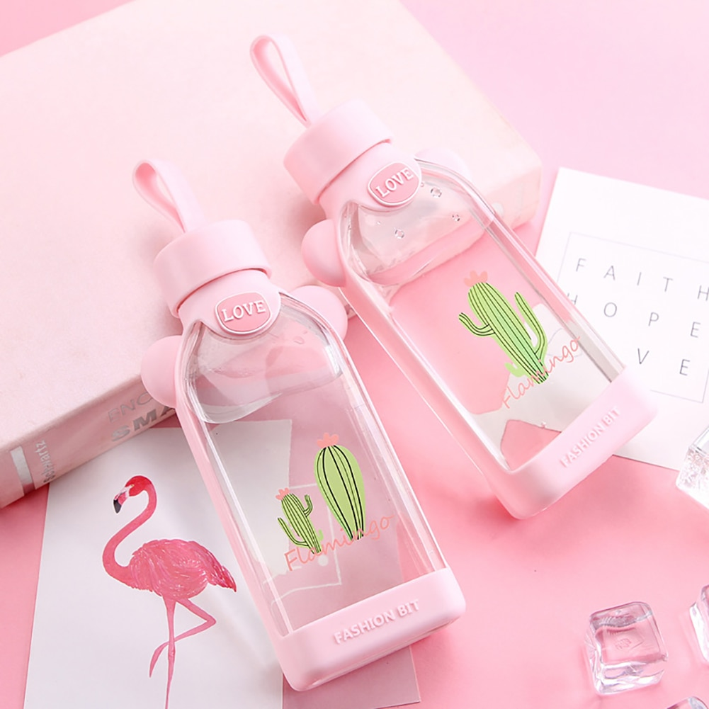 Kawaii Flamingo Cactus Glass Bottle (350ml) – Limited Edition