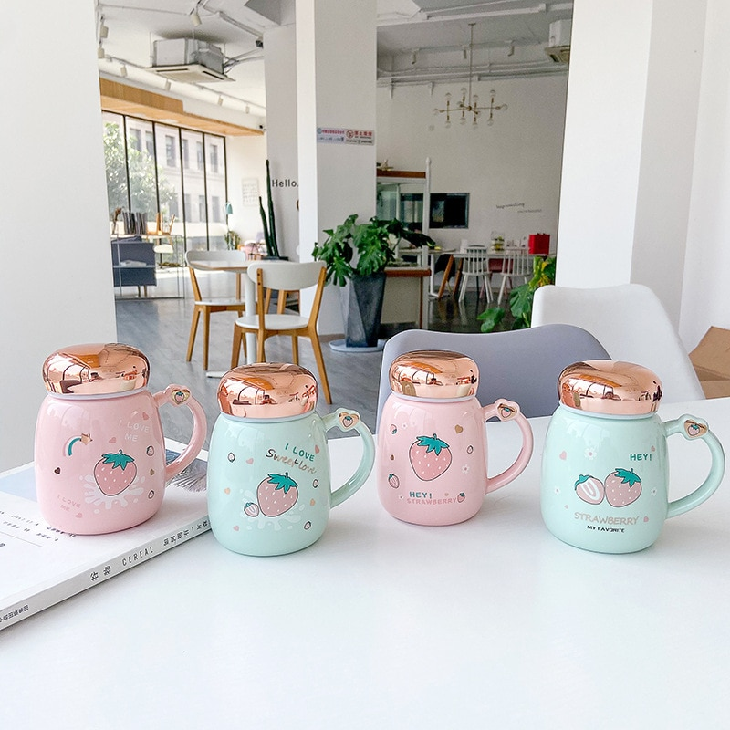 Kawaii Strawberry Ceramic Cup (400ml) – Special Edition