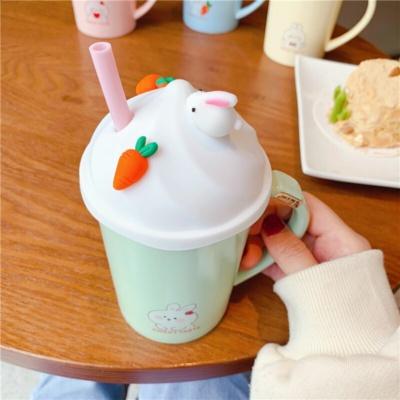 Kawaii Mug Ice-Cream Rabbit Ceramic Mug With Lid And Straw