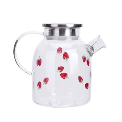 Kawaii Sweet Strawberry Glass Tea Pot