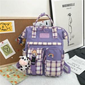 Kawaii Plaid Canvas Backpack