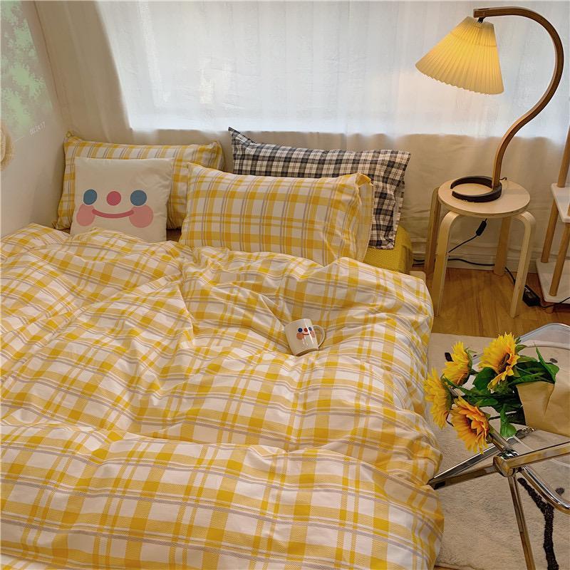 Kawaii Cute Plaid Bedding Set