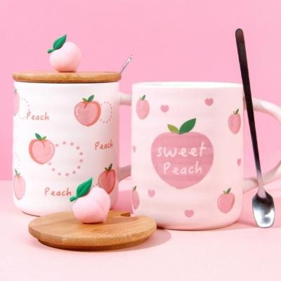 Sweet Heart Peach Mug 3D Kawaii Mug With Lid And Spoon
