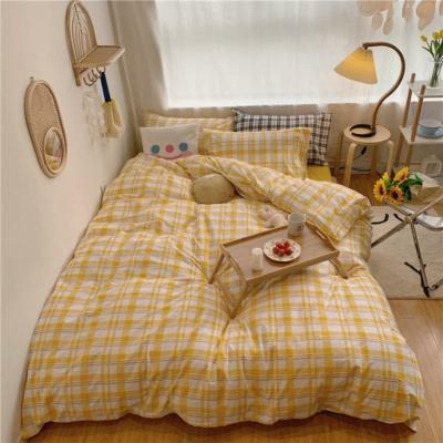 Cute Yellow Plaid Bedding Set