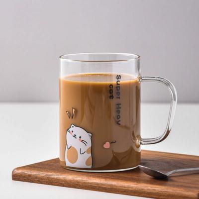 Kawaii Cat Glass Mug With Lid and Spoon