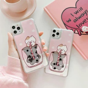 Kawaii Boba Cat Phone Case For iPhone