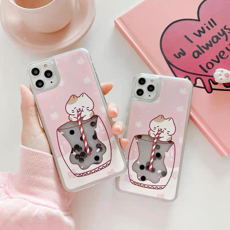 Kawaii Boba Cat Phone Case For