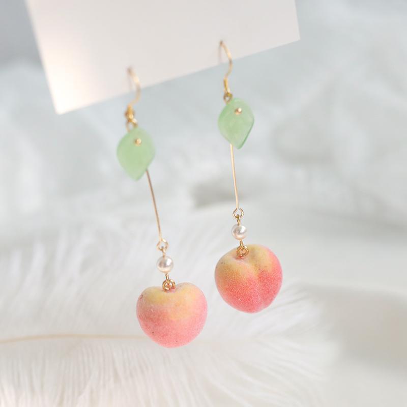 Kawaii Cute Peach Earrings