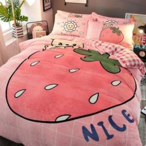 Kawaii Strawberry Coral Velvet Bedding Sheet