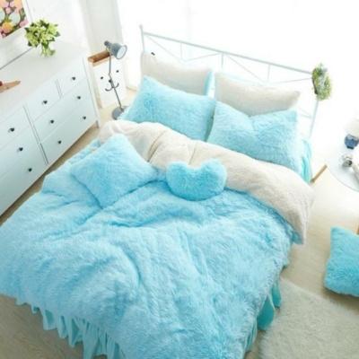 Kawaii Warm Plush Bed Skirt Style  Bedding Set