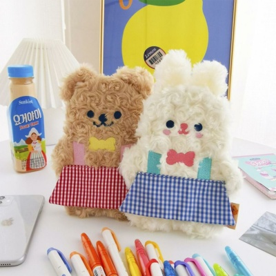 Kawaii Milkjoy Rabbit And Bear Duo Plush Pencil Case