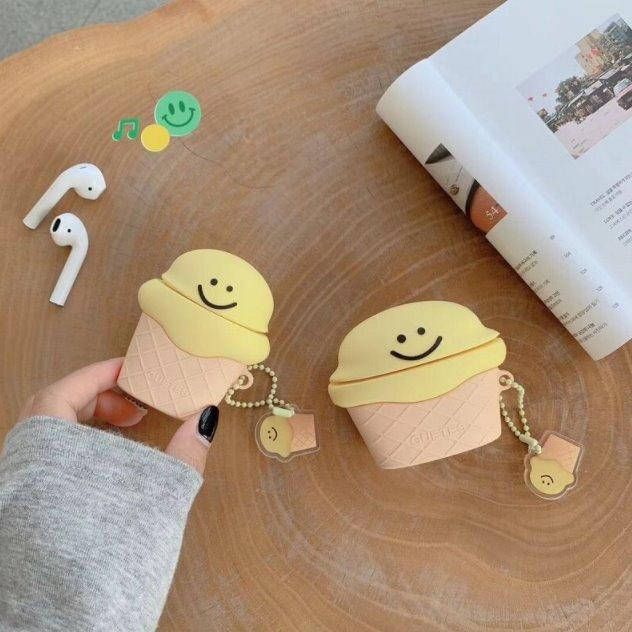Kawaii Smiley Ice Cream Airpods Case (1&2&Pro)