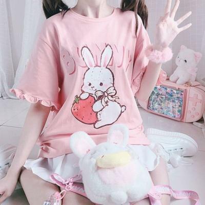 Kawaii Strawberry Tee Bunny Oversize T-Shirt