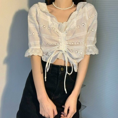 Kawaii White Cotton Broidery Cute Crop Top