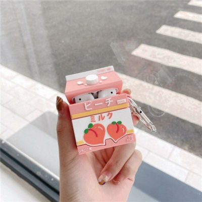 Kawaii Sweet Peach Milk Carton Airpods 1 & 2 Pro Case
