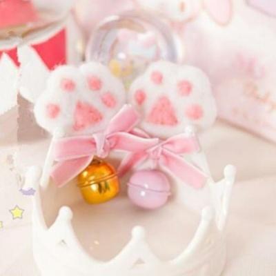 Kawaii Cute Lolita Cat Paws Bowknot Bells Hair Clip Brooch