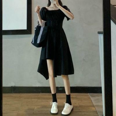 Kawaii White/Black Puff Short Sleeves Irregular Long Dress