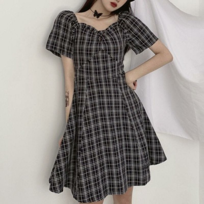 Kawaii Sweet Summer Casual Plaid Long Dress