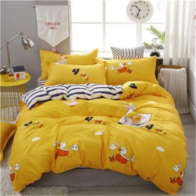 Kawaii Yellow Duck Printing 3/4pcs Bedding Set