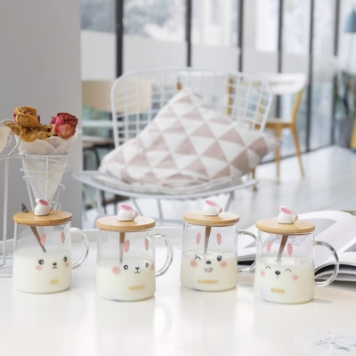 Cute Rabbit Glass Milk Cup With Lid Spoon 500ML