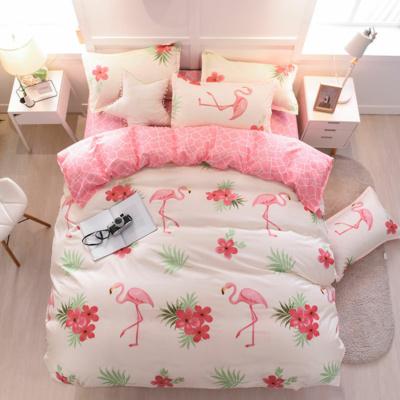 Kawaii Flamingo White Pink 3pcs Bedding Set