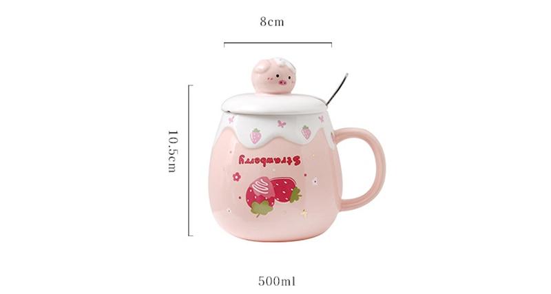 Kawaii Strawberry Pig Ceramic Mug With Lid & Straw