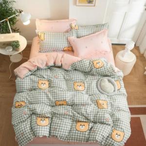 Kawaii Bear Plaid Pattern 3/4 PCS Bedding Set