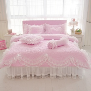 Kawaii Princess Pink Thick Quilted Lace Bedding Set