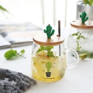 500ML Creative Cactus High Borosilicate Glass Mugs Breakfast Milk Mug Coffee Mug Tea Cups with Lid And Spoon Best Gift for Love