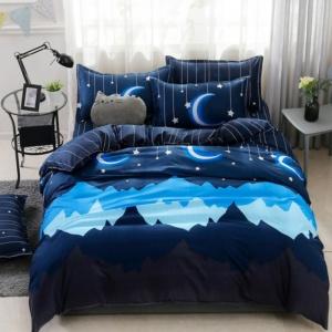 Kawaii Blue Mountains Starry Nights 3/4 PCS Bedding Set