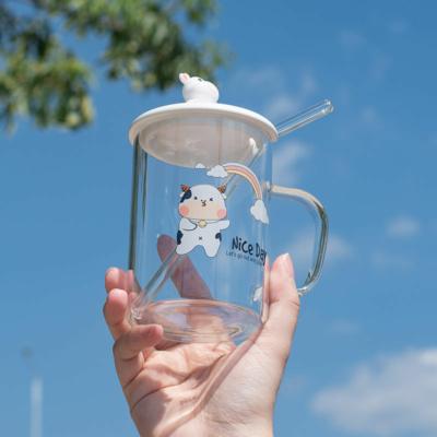 Kawaii Dancing Cow 3D Glass Mug With Lid & Straw