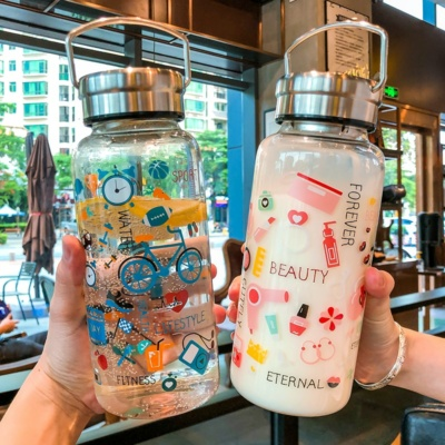 Graffiti Print Glass Water Bottle 1000ml