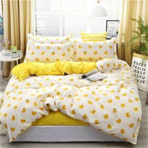 Kawaii White Yellow Duck Printing 3/4pcs Bedding Set