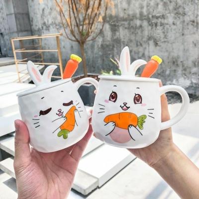 Cute 3D Carrot Rabbit Mug with Lid & Spoon