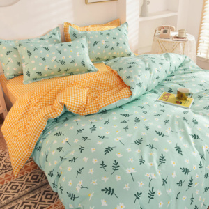 Kawaii Green Leaf Print 3/4 PCS Bedding Set