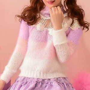 Kawaii White Purple Floral Candy Sweater