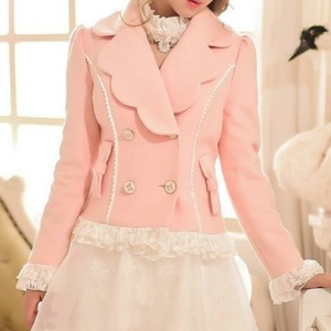 Kawaii Pastle Wave Collar Double-Breasted Coat