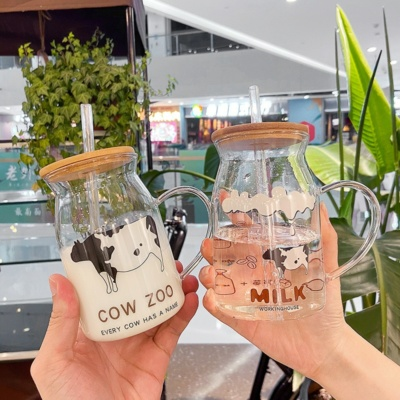 Cute Cow Transparent Mug With Wooden Lid