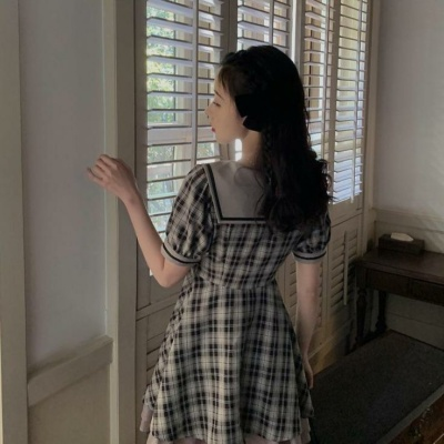 Kawaii Cute Sailor Collar Plaid Gray Summer Dress