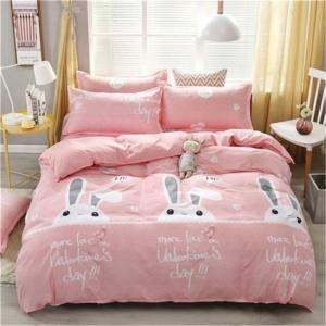 Kawaii Pink Bunny Print 3/4pcs Bedding Set