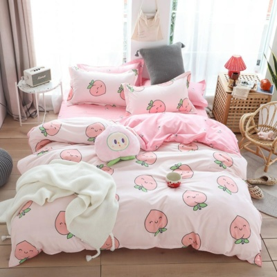 Kawaii Peach Pink 3/4PCS Bedding Set
