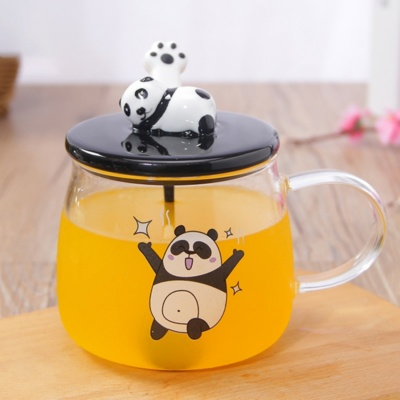 Happy Panda Kawaii 3D Glass Mug With Lid 500ml