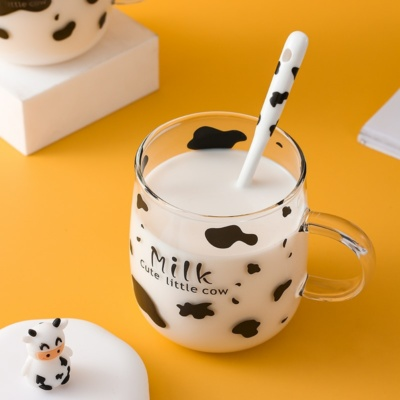 Kawaii Cow Milk Ceramic Mug With Lid &Spoon