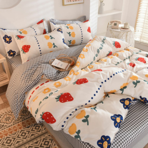 Kawaii Strawberry Print White 3/4 PCS Bedding Set