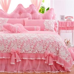 Kawaii Princess 4/7Pcs Pink Bedding Set