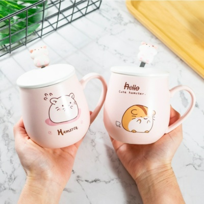 Kawaii Hamster 3D Ceramic Handle Coffee Mug with Lid & Spoon